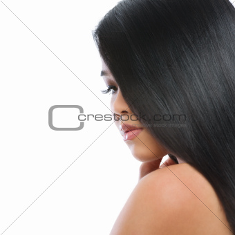 Beauty portrait of asian brunette woman healthy long straight hair isolated on white