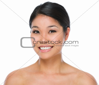 Beauty portrait of smiling asian brunette woman isolated on white
