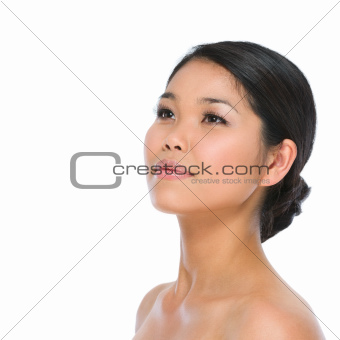 Beauty portrait of healthy asian brunette woman isolated on white