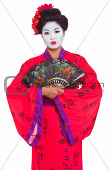 Portrait of geisha with fans isolated on white