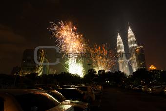 New Year Fireworks Petronas Towers Kuala Lumpur H