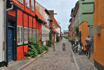 Beautiful old street in Elsinore, Denmark