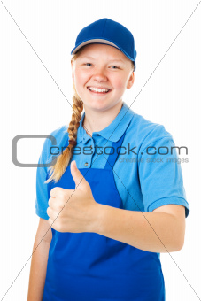 Pretty Teen Worker - Thumbs Up