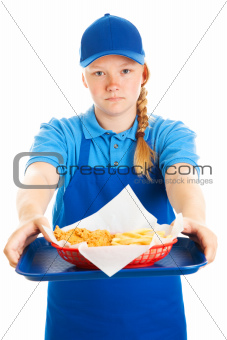 Teen Girl Serves Fast Food