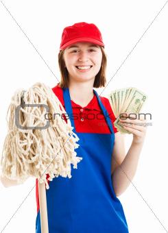 Teenage Worker Earning Money