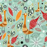 Autumn texture with birds