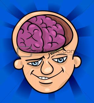 brainy man cartoon illustration