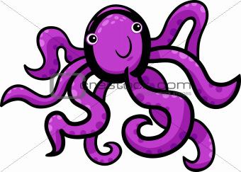 cartoon illustration of cute octopus