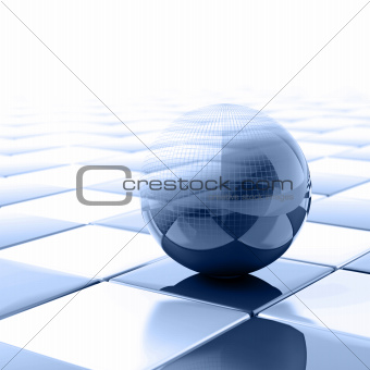 blue metallic ball with visible wired structure
