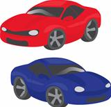 Two cartoon cars