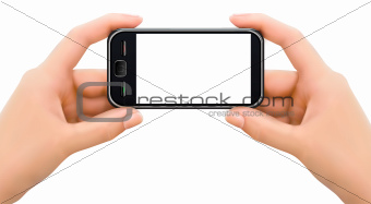 Two hands holding mobile smart phone with blank screen  illustration