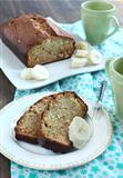 Freshly Baked Banana Bread with fresh bananas.