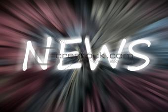 """News"" on blurred chalkboard"