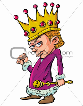 Cartoon evil looking child king holding a scepter