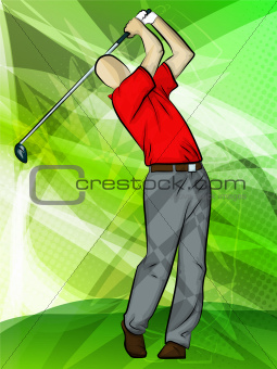 Golfer swinging a driver
