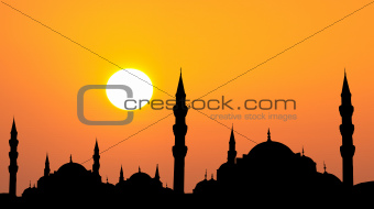 Hagia Sophia and The Blue Mosque  silhouette