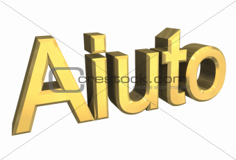 Aiuto (italian word for help) in gold - 3D