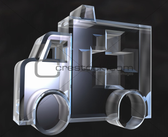 ambulance symbol in glass - 3d