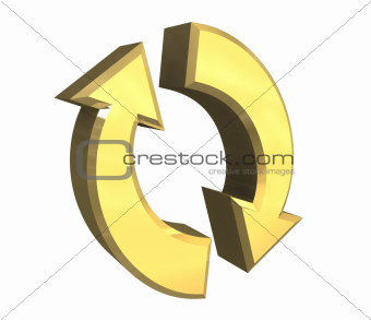 arrows symbol in gold - 3D