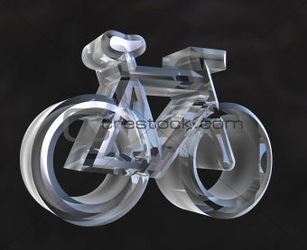 bike symbol in transparent glass (3d)
