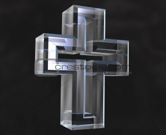 Cross symbol in transparent glass (3d)