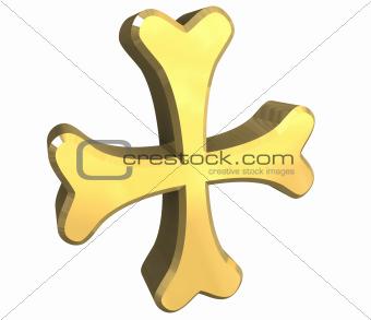 armenian cross in gold - 3D