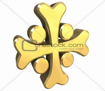 armenian cross in gold - 3D