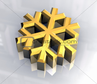 3D Snowflake in gold