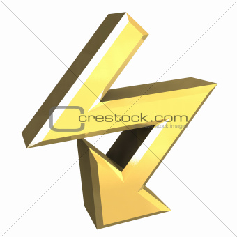 arrow symbol in gold - 3D