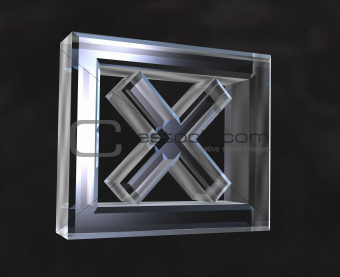 X Checked Box symbol in transparent glass (3d)