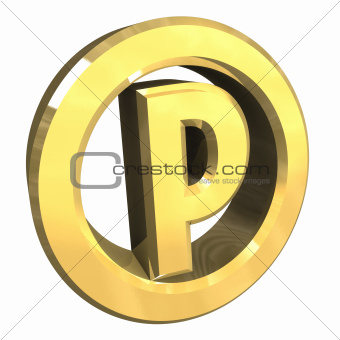 parking symbol in gold (3d)