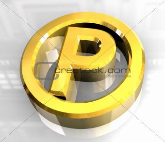 parking symbol in gold (3d)