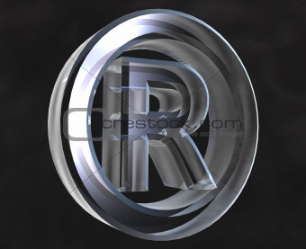Registered symbol in transparent glass (3d)