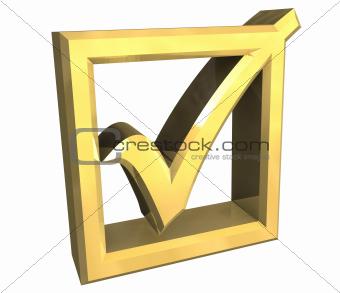 ok tick in gold - 3D
