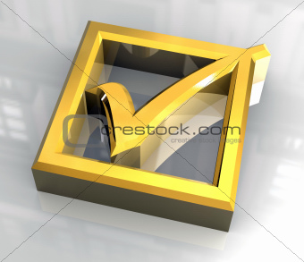 ok tick in gold - 3D