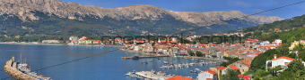 Adriatic Town of Baska panoramic view