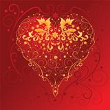 Golden Ornament Heart on red background