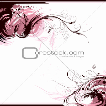 Floral Pattern with Ink Blots on white background