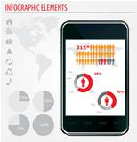 Mobile infographics. Set of graphs and chats. 