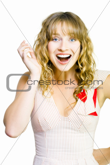 Happy excited woman with wide smile