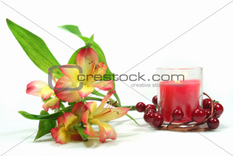 Alstroemeria and candle