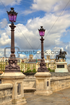 Lampposts on Pont Neuf. Paris, France.