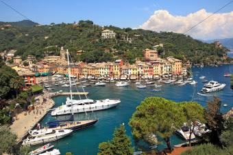 Aerial view on Portofino, Italy.