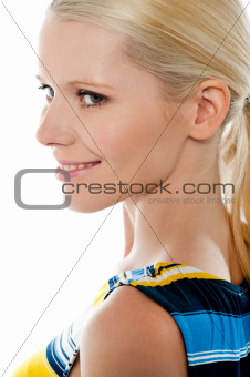 Side view of blond pretty woman, closeup shot