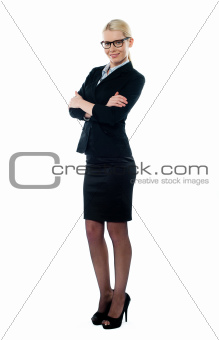 Full length view welldessed corporate woman