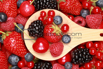 Berries on a wooden spoon