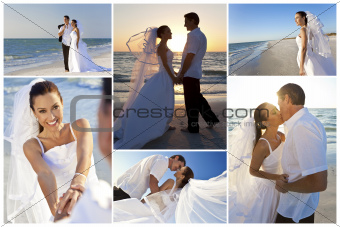 Bride &amp; Groom Married Couple Sunset Beach Wedding