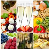 Food &amp; Drink Montage Salad Fruits Pasta Cheese Champagne