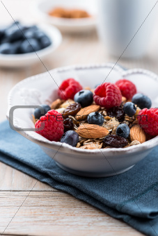 Muesli with fresh fruits and almonds