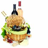 picnic basket with wine and grape